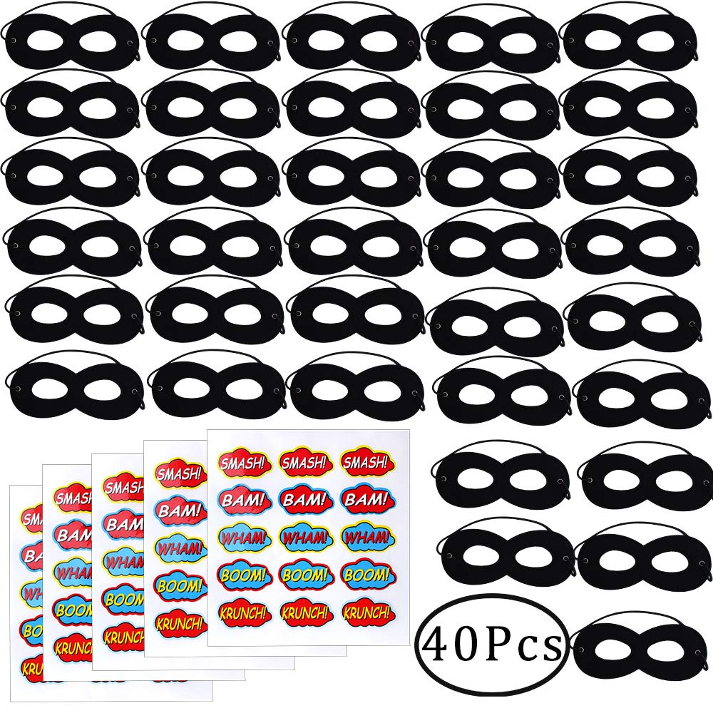 Standie 40 PCS Black Felt Mask Set Kids Party Dress Up Masks for Mask Cosplay Party included 35 Pcs Felt Eye Masks 5 Pcs Stickers Sheet