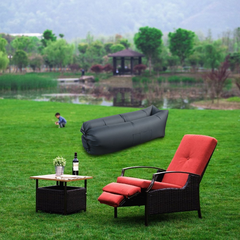inflatable outdoor furniture. inflatable lounger sleeping air bed chair resistant u0026 portable blow up lounge for indoor outdoor camping beachsuit most of adult black furniture a