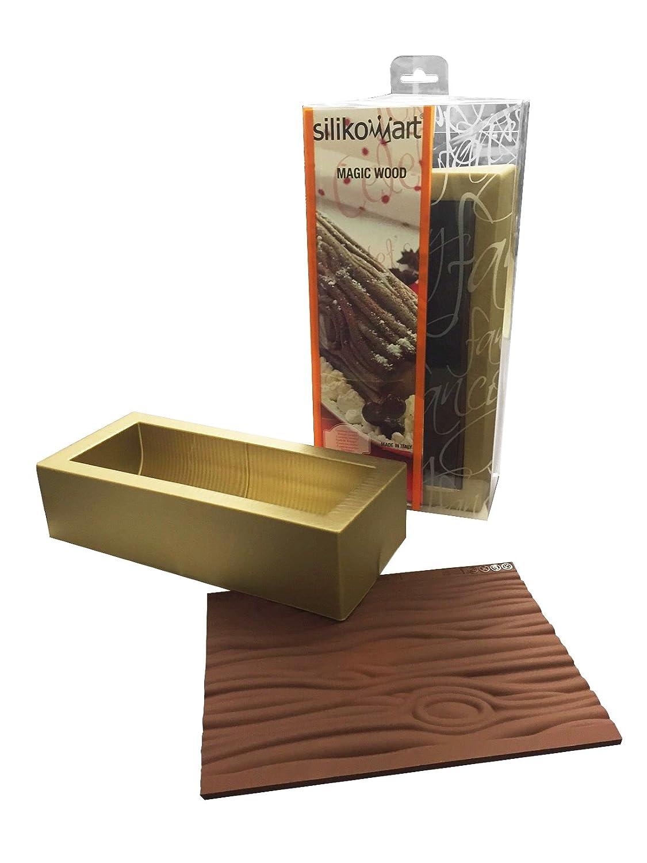 Silikomart-Wonder Cakes 100-Percent Platinum Silicone Log Mold with Knots, Magic Wood, Gold 25.057.99.0063