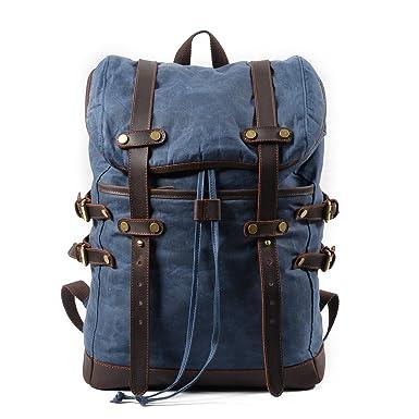 b1c00bdf59 Mozone Vintage Canvas Leather Laptop Backpack for Men School Bag 15.6 quot   Waterproof Travel Rucksack (
