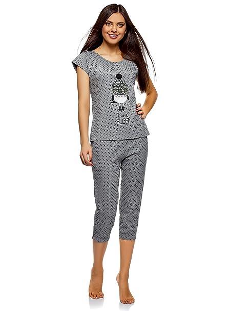 0bfd078a8 oodji Ultra Mujer Pijama con Pantalones Piratas y Estampado en el Pecho