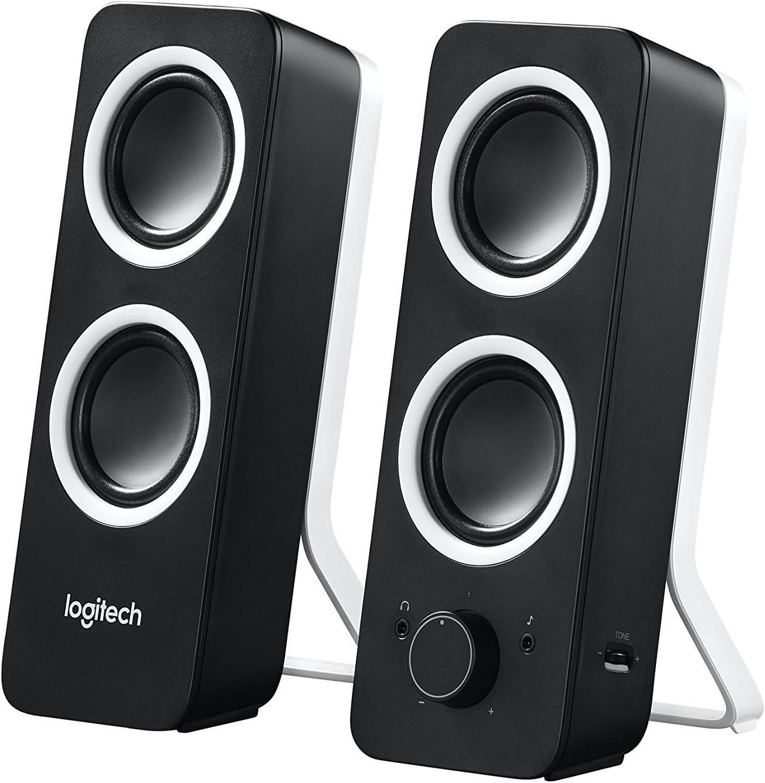 Logitech Z200 2.0 Altavoces Estéreo, 10 Vatios, Sonido Estéreo Detallado, Graves Ajustables, Conexión 2 Dispositivos, Entrada Audio 3.5 mm, Controles Sencillos, Enchufe EU, TV/PC/Móvil/Tablet, Negro