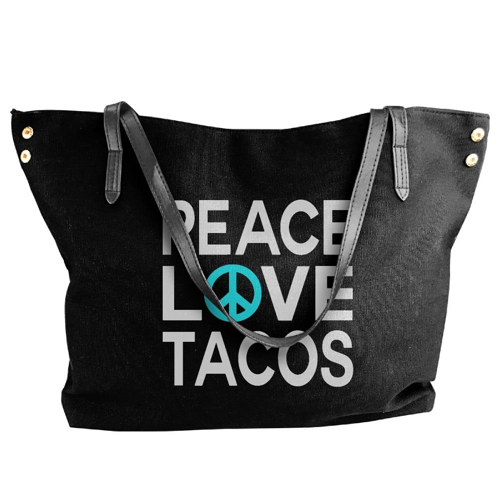Women's Peace Love Tacos Canvas Shoulder Bag Handbags Tote Bag Casual Work Bag