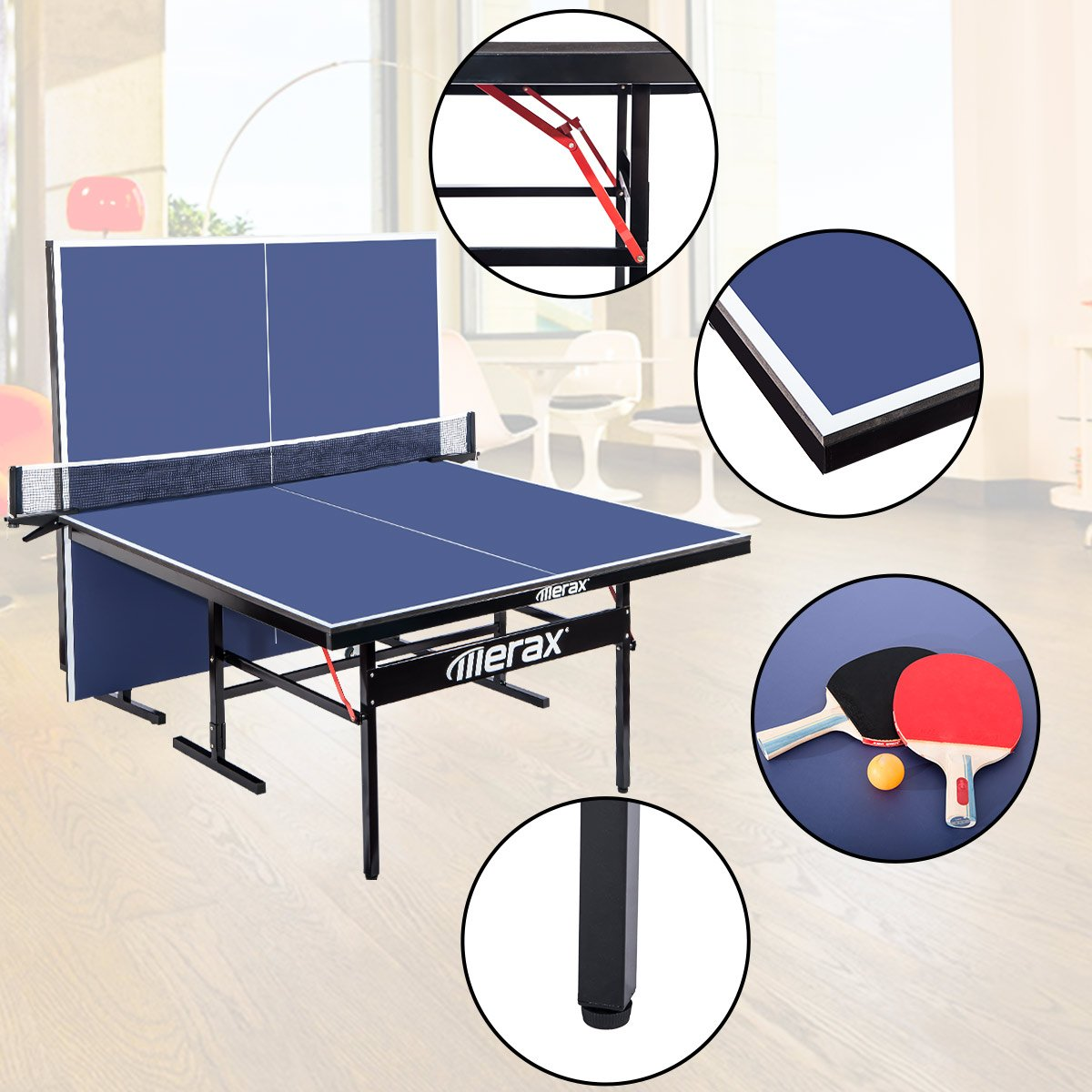 e056344940c Amazon.com   Merax Everest Series Indoor Folding Table Tennis Table with Net  Set and Lockable Wheels   Sports   Outdoors