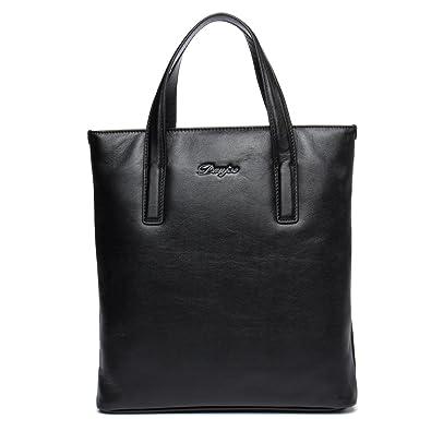 DANJUE Fashion Top Handle Handbag Tote Bag Black Blue Bucket Stylish Men s  Genuine Leather Business Bag 19914c7077