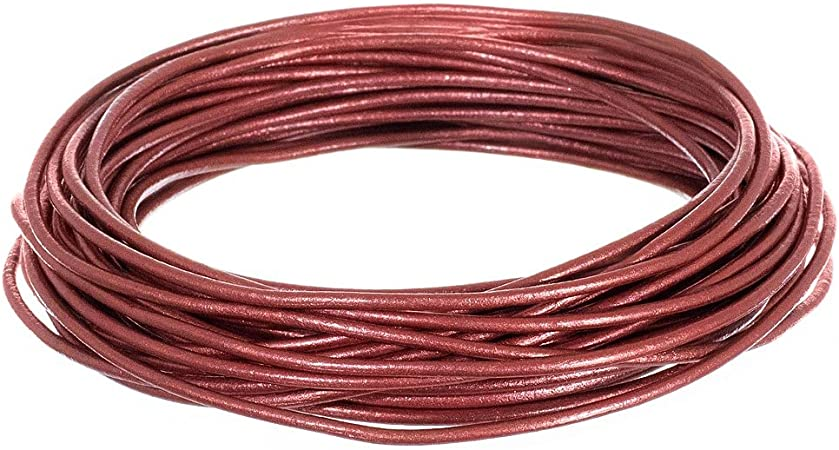 2mm, Lemon Grass 25 Yards of Solid Round 2mm Lemon Grass Real and Genuine Leather Cord for use as Braiding String