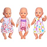 Ebuddy 3 Sets Doll Clothes Sets for 14 to 16 Inch Alive Baby Dolls New Born baby Dolls and 18 Inch American Girl Dolls