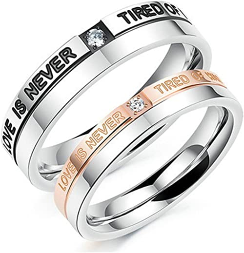 Bishilin Silver Plated Cubic Zirconia Inlaid 2Pcs Anniversary Ring Set For Women Size 9.5