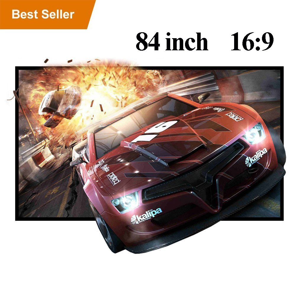 WIKISH 84'' Foldable Outdoor Projector Screen 84 Inch 16:9 HD Anti-Crease Portable Projection Screen Movie Screen for Indoor and Outdoor Use