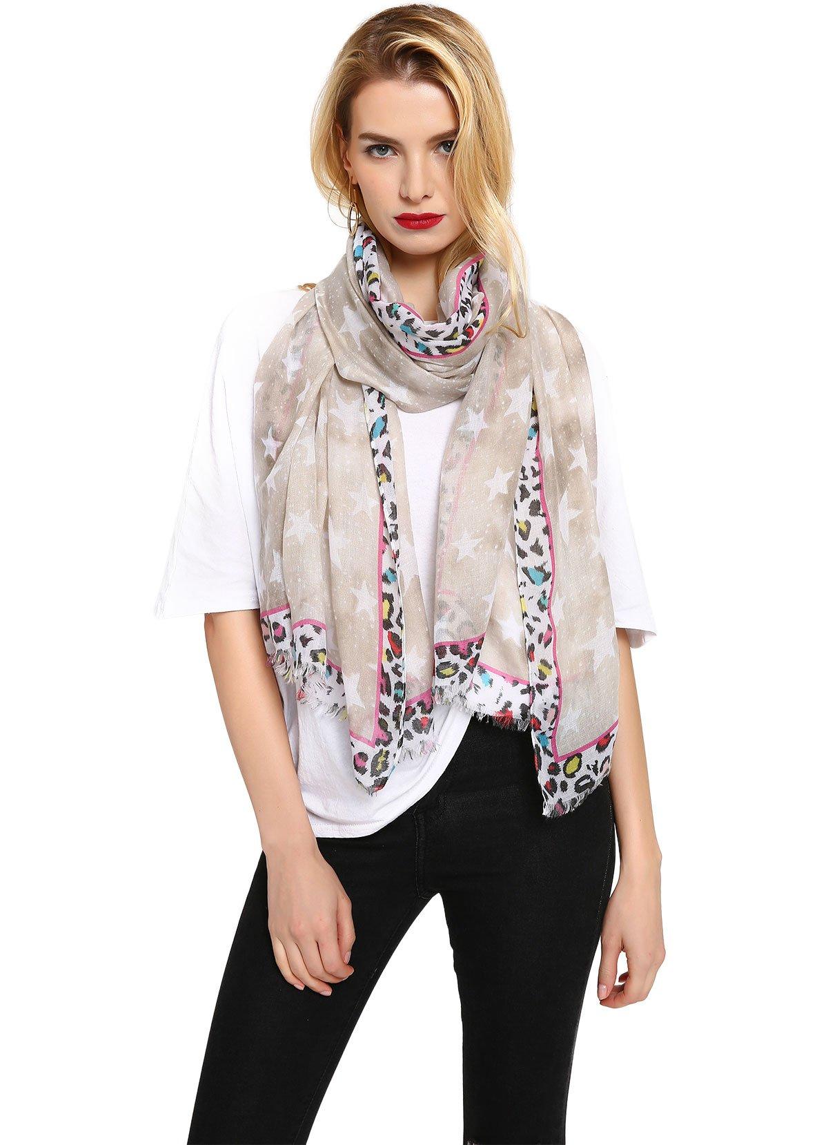 Womens Fashion Leopard Pattern Trim Scarf Lightweight Suncreen Shawl Beige