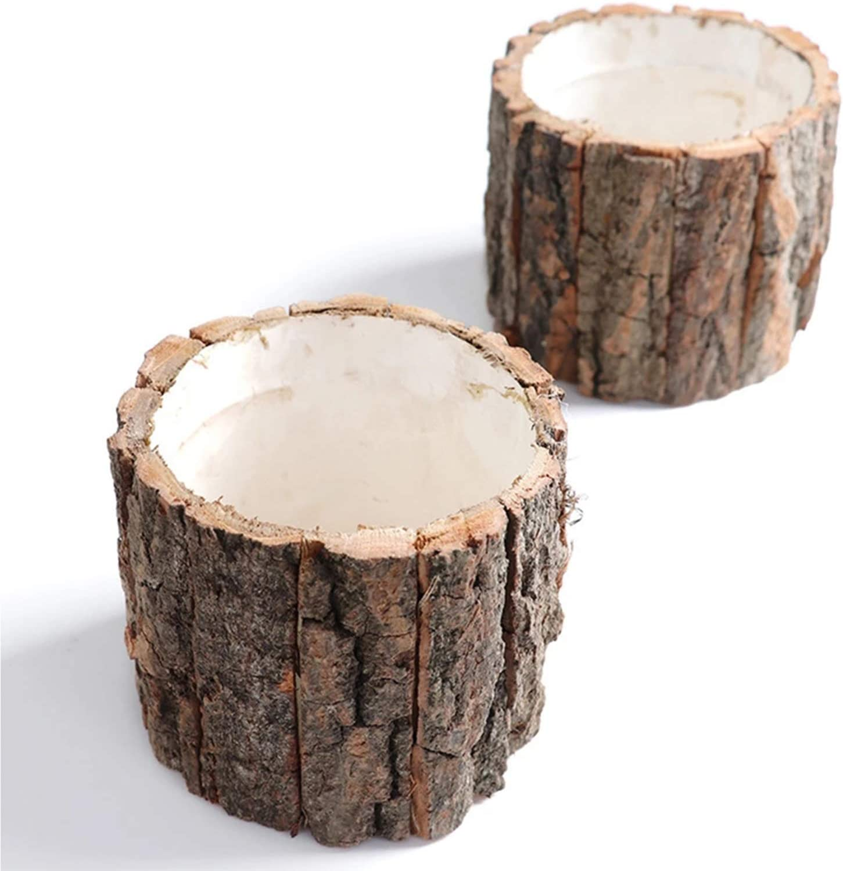 ZXCVB Log Flower Pot Decorative Hand-Crafted Rustic Bark Flowerpot Container, for Garden Cactus Succulent Planter Flower Pot