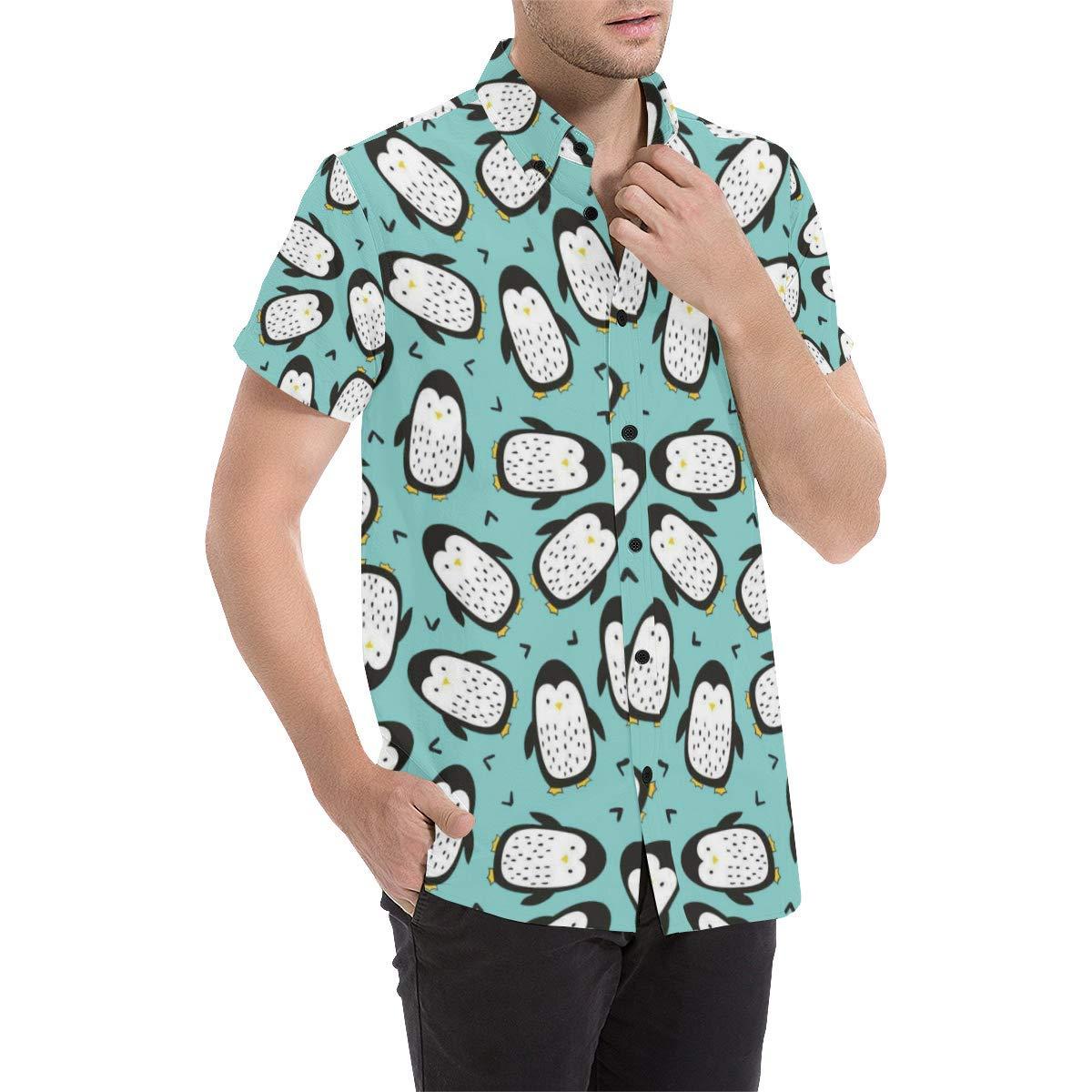 UlanLi Penguin Mens All Over Print Short Sleeve Shirt//Large Size