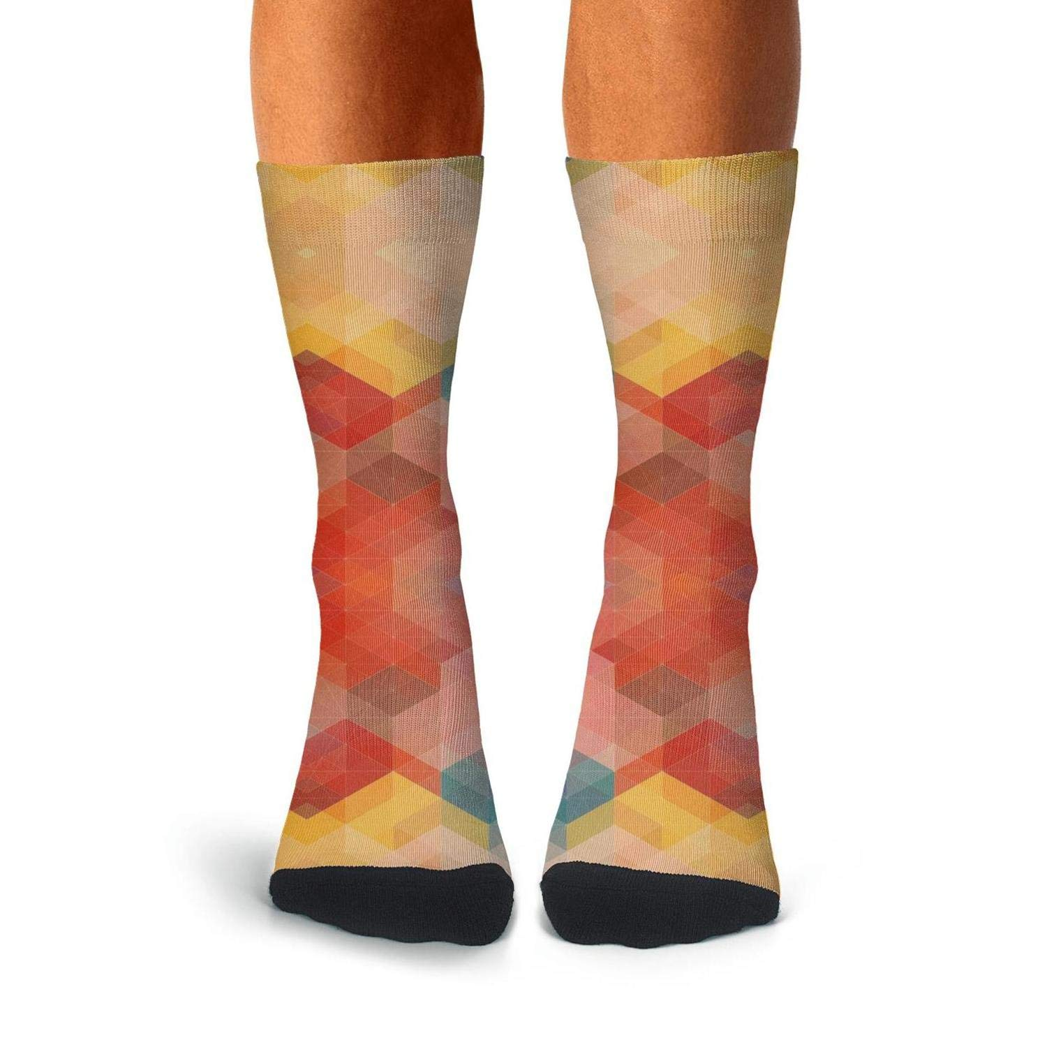 Mens Athletic Cushion Crew Sock Plaid printing diamond Gradient color Long Sock Sports