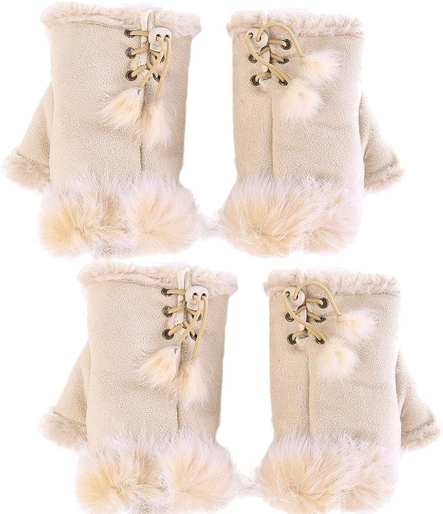 Novawo 2pairs Women Winter Warm Fingerless Gloves Texting Gloves Wrist Warmer