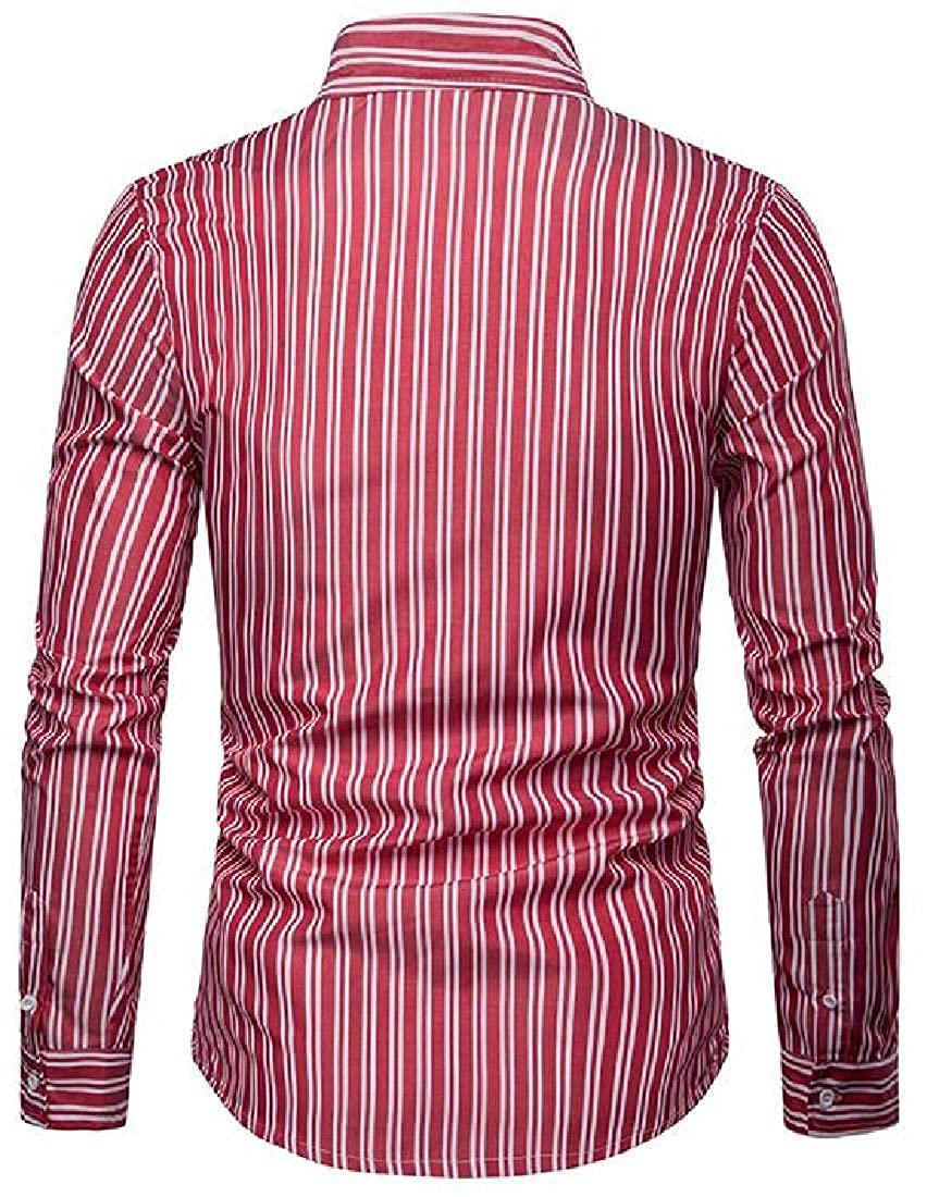 Domple Mens Long Sleeve Stripe Print Business Button Up Loose Dress Shirts