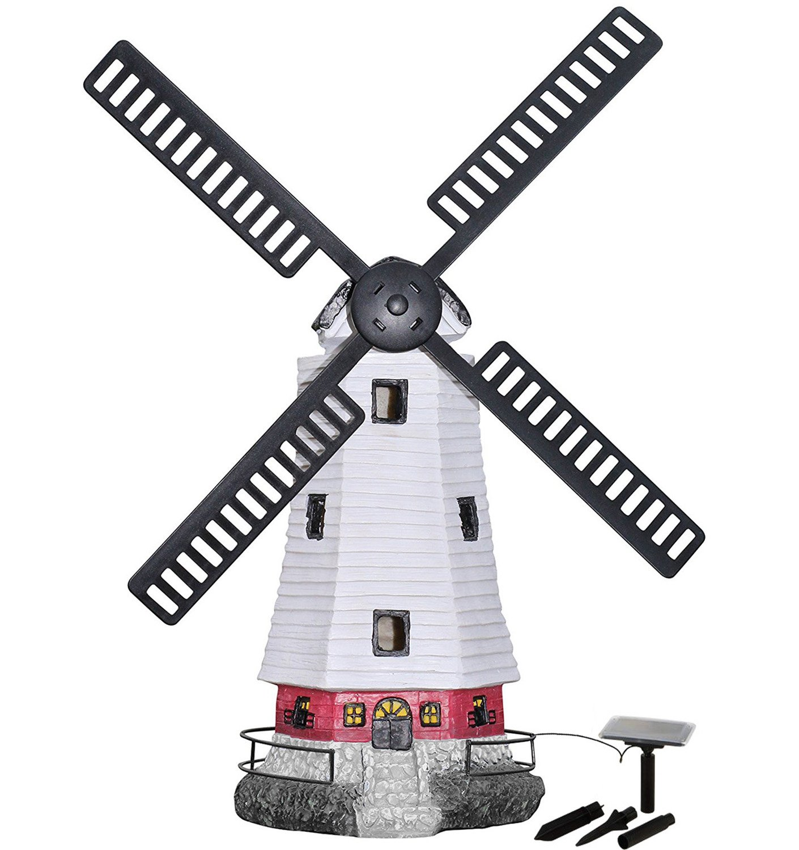 HONGVILLE Large Windmill Landscape Spotlights Garden Decor Solar Powered LED Lighthouse by HONGVILLE (Image #1)