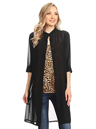 2460d41a12ec9f Anna-Kaci Junior Womens Black Sheer Chiffon Long Tunic Blouse Dress Shirt