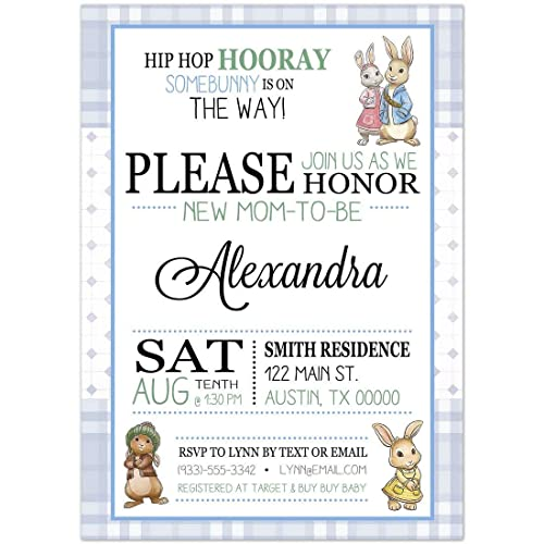 Amazon Com Peter Rabbit Blue Baby Shower Party Invitations Handmade