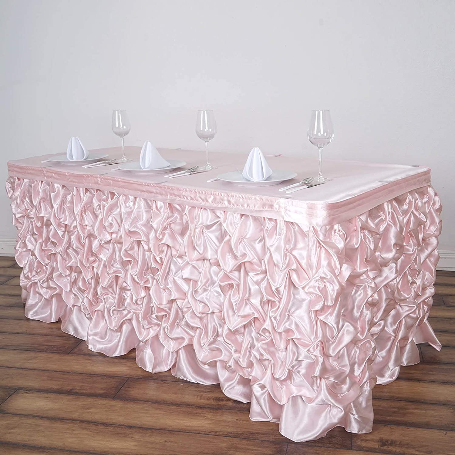 3dc457ea341c2 Amazon.com: BalsaCircle 21 feet x 29-Inch Blush Ruched Lamour Satin Banquet Table  Skirt Linens Wedding Party Events Decorations Kitchen Dining: Kitchen & ...