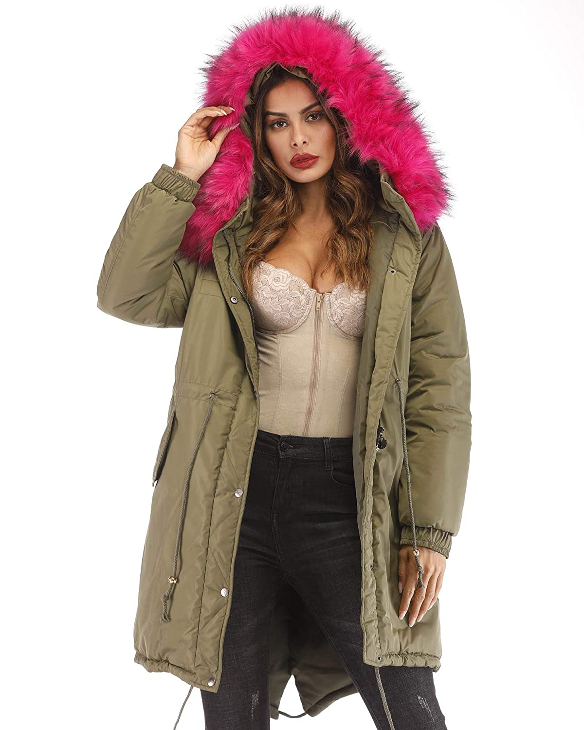 Aofur Womens Plus Size Winter Warm Long Thick Down Hooded Parka Coat Cardigan Zip Jacket Top Fashion Overcoat Outwear