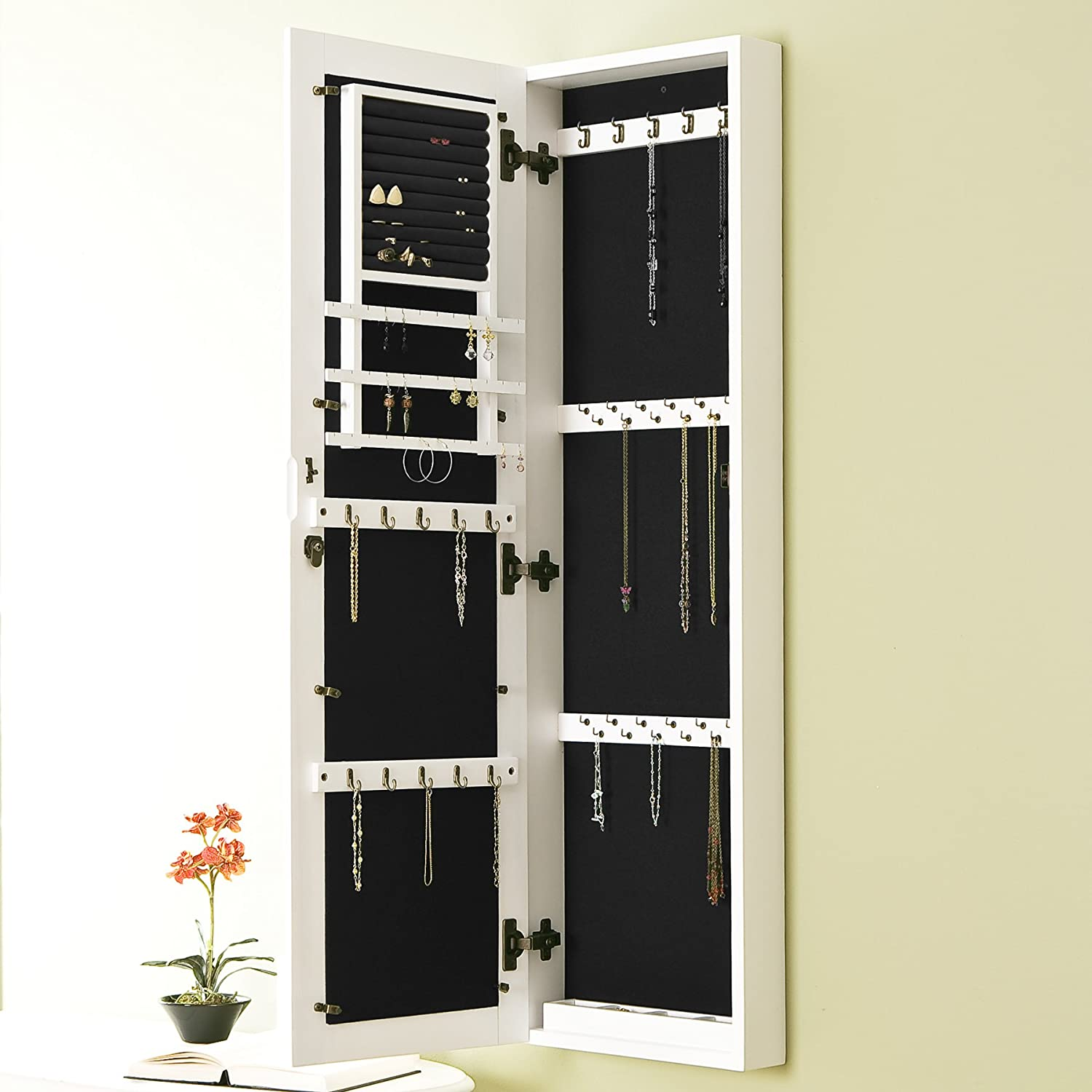 living mount armoire jewelry dp in wall lighted home cabinet locking mirror com x kitchen belham amazon