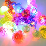 ThinkMax 24 Pack Flashing Led Bumpy Rubber Rings Party Jelly Light Up Finger Toys - Assorted Styles and Colors