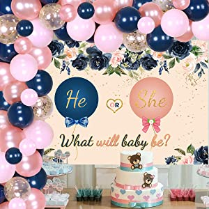 Gender Reveal Decorations Navy Blush Balloon Garland Arch Kit Reveal Party Backdrop Supplies with Navy Blue Pink Rose Gold Confetti Latex Balloons for Baby Shower Gender Reveal Party Decor
