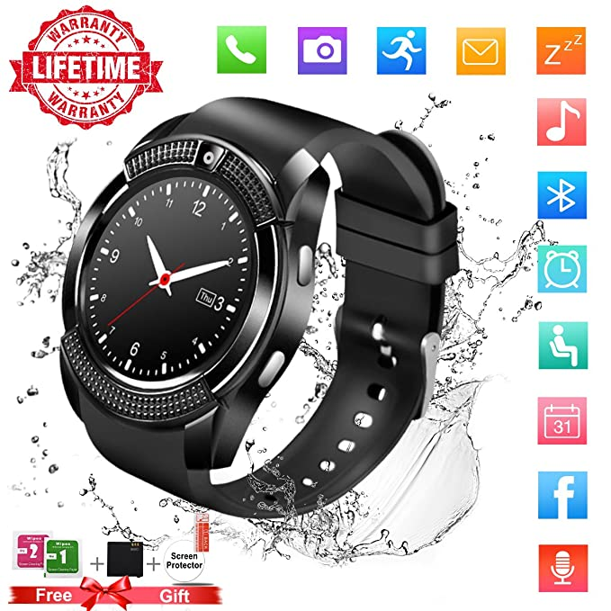 Smart Watch,Bluetooth Smartwatch Touch Screen Wrist Watch with Camera/SIM Card Slot,Waterproof Smart Watch Sports Fitness Tracker Compatible with ...