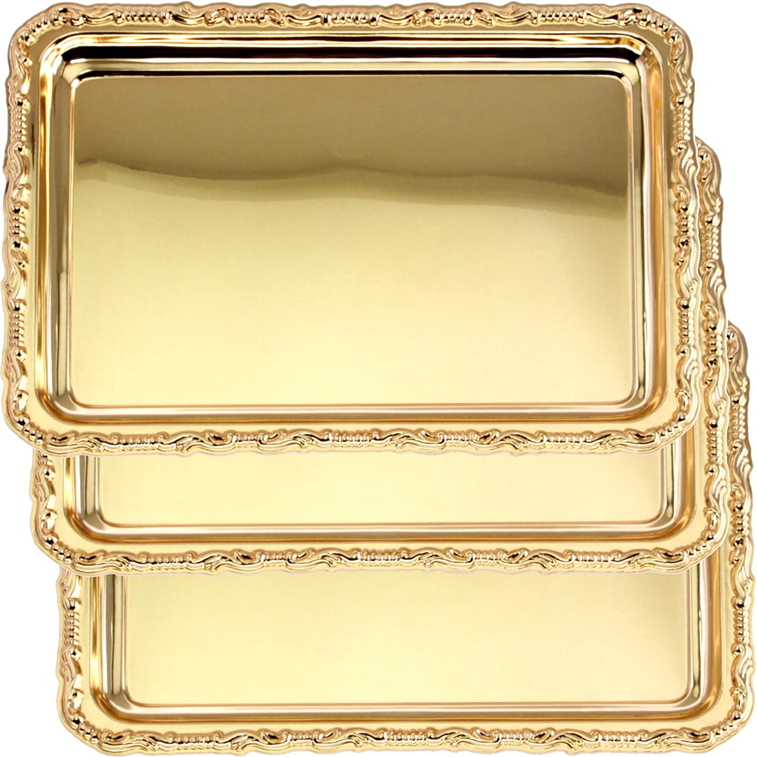 Maro Megastore (Pack of 3) 12.5 Inch x 9.1 Inch Rectangular Iron Gold Plated Serving Tray Floral Edge Decorative Party Birthday Wedding Dessert Buffet Wine Candle Decor Platter Plate Base Dish CC-531