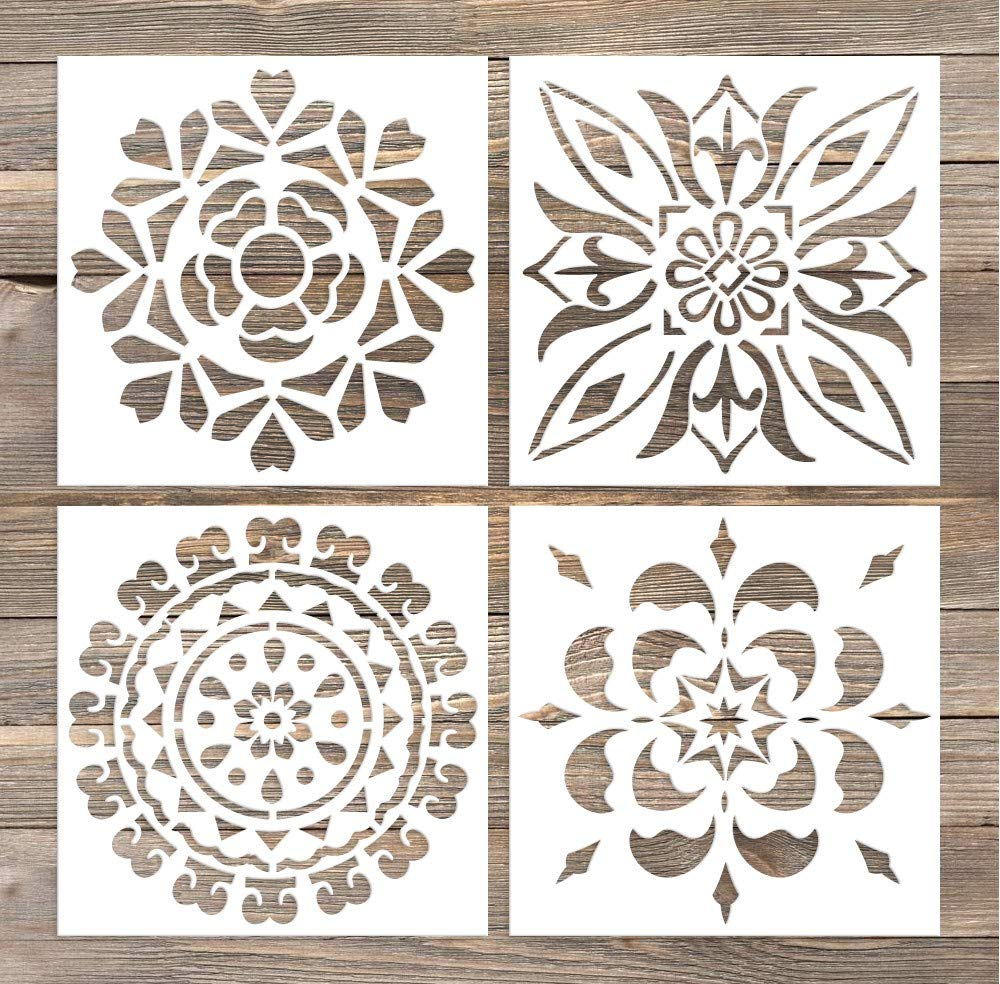 GSS Designs Pack of 4 Wall Stencils 6x6 Inch Laser Cutting Tiles Stencil  Template for DIY Home Decor - Use on Wall Floor Tiles Wood Fabric