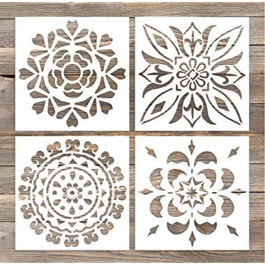 GSS Designs Pack of 4 Wall Stencils 6x6 Inch Laser Cutting Tiles Stencil Template for DIY Home Decor - Use on Wall Floor Tiles Wood Fabric Furniture(SL-005)