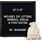 Black Felt Letter Board | Classy Dark Stained Wooden Frame, with White Letters | Premium Changeable Sign Boards for Home…