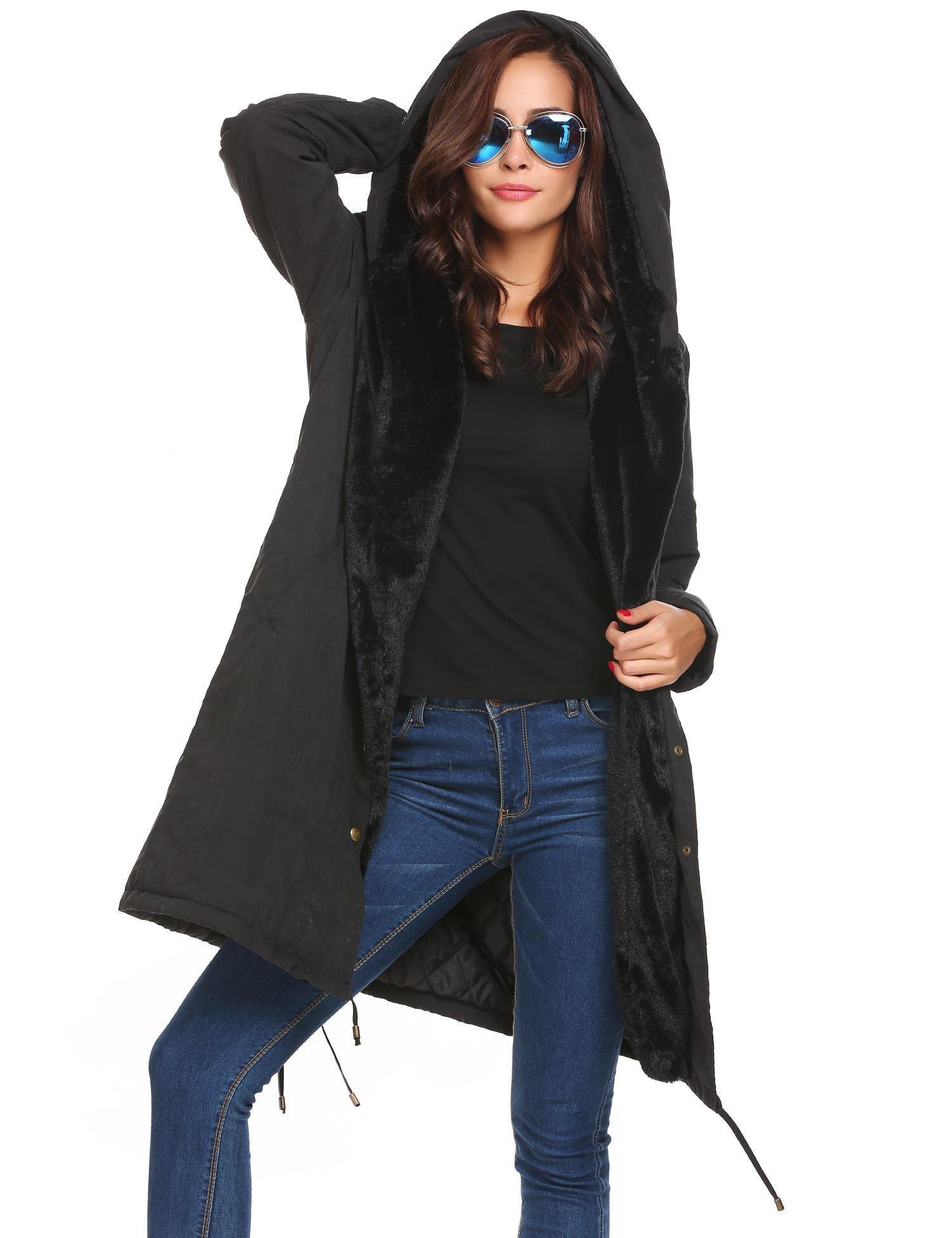 Zeagoo Womens Hooded Warm Coats Parkas with Fax Fur Winter Jacket (XXX-Large, Black)