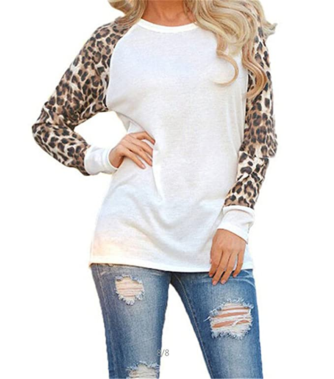 Mofgr Spring Autumn Women Sweatshirts Sexy Leopard Long Sleeve Pullovers O-neck Casual Shirt at Amazon Womens Clothing store: