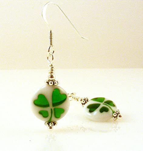 Shamrock Four Leaf Clover Good Luck Acrylic Earrings With Sterling Silver Earwires