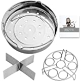 Aozita Steamer Basket Rack Set for Instant Pot Accessories 8 Qt- Fits Instant Pot 8 Qt Pressure Cookers, with Removeable Dividers, Egg Steamer Rack, Streaming Recipe and Cleaning Cloth