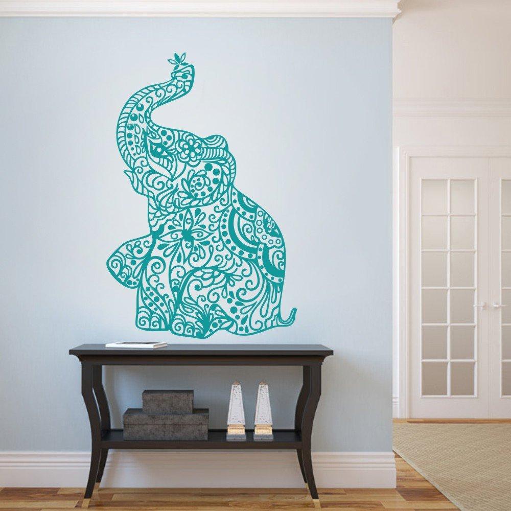 MairGwall Elephant Wall Stickers Yoga Vinyl Boho Wall Decal Home Bedding Decor Nursery Wall Mural(54''h x35''w,Teal)