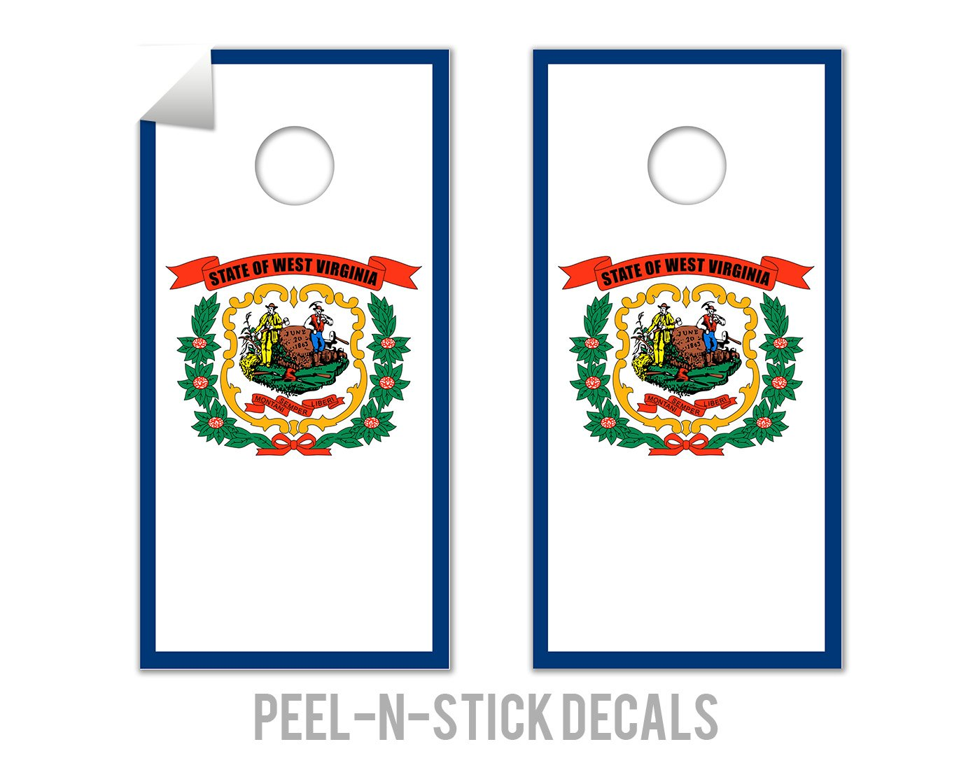 West Virginia State Flag - Cornhole Crew - ACA Regulation Size Cornhole Board Decals by The Cornhole Crew