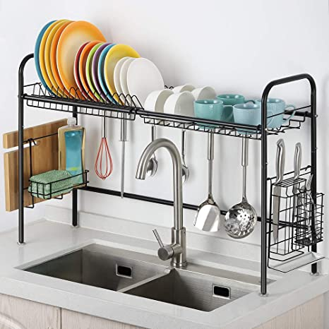 Details about  /Dish Drying Rack Kitchen Organizer Sink Dish Drainer Stainless Steel