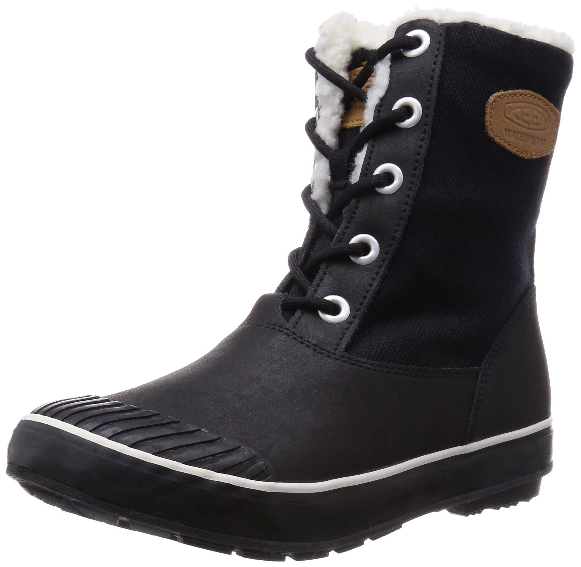 KEEN Women's Elsa Boot Waterproof Winter Boot, Black, 8.5 M US