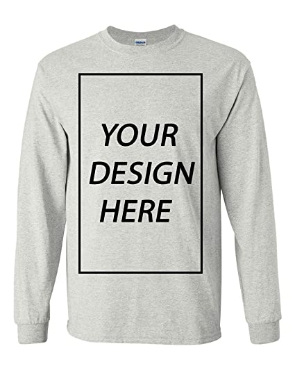 6ad797742ed Amazon.com: Long Sleeve Adult T-Shirt Add Your Own Text Design ...