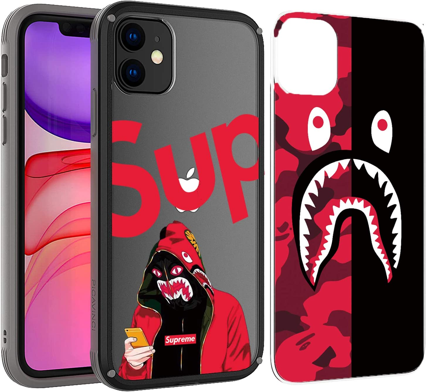 PICAVINCI SwitchME iPhone 11 Case, Shark Street Fashion Black Clear Matte Protective Cover
