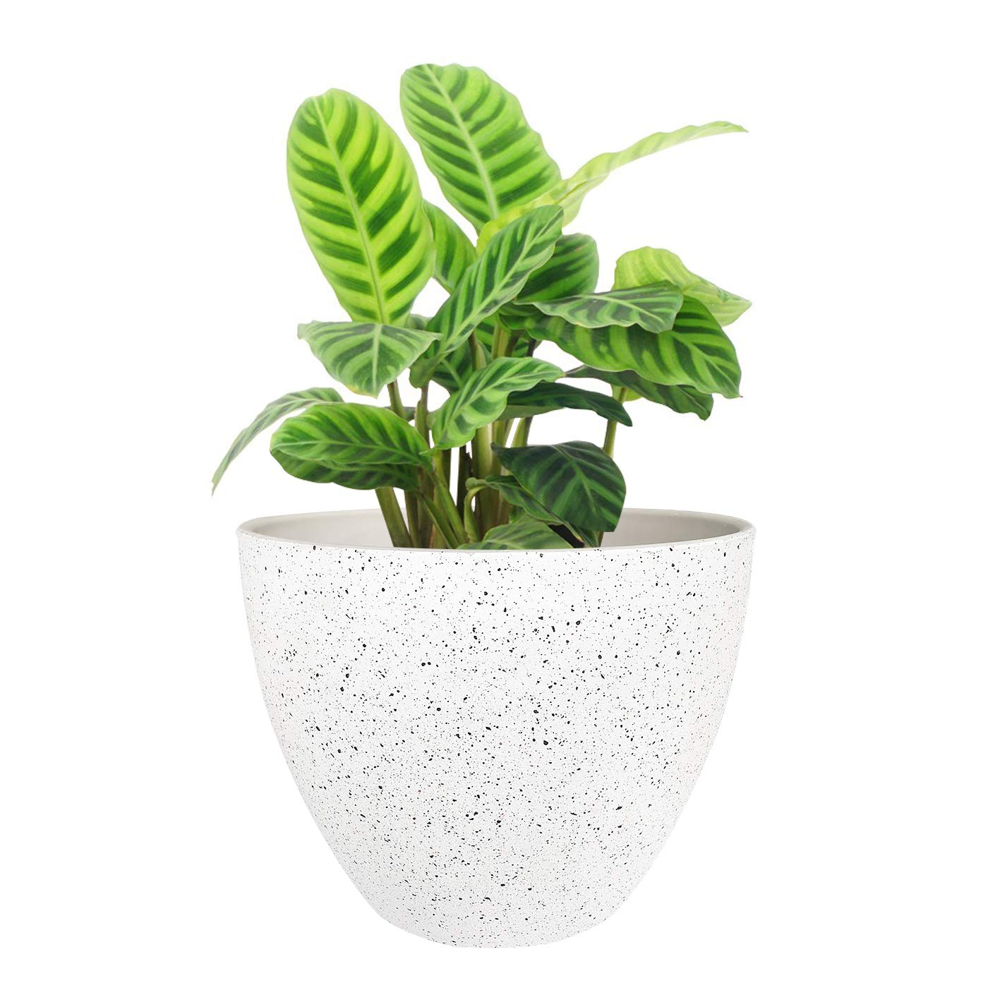 Flower Pots Outdoor Indoor Garden Planters, Resin Plant Containers with Drain Hole, Speckled White (8.6 inches, 1 Pack) …