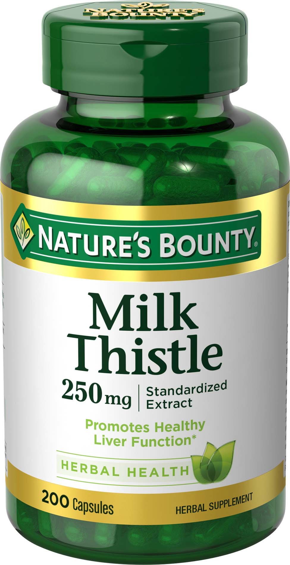 Nature's Bounty Milk Thistle Pills and Herbal Health Supplement, Supports Liver Health, 250mg, 200 Capsules