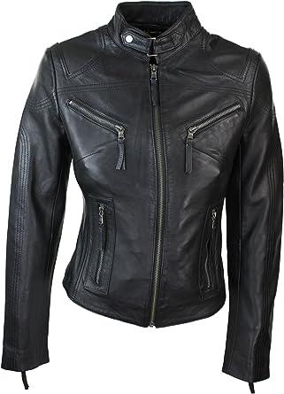 Ladies Real Leather Black Biker Style Fashion Jacket Size UK 6-20