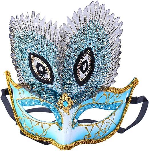 Scrox 1 Pieza Máscaras Halloween Mujer,Hombre Colorido Pavo Real ...