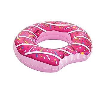 36118 Flotador en forma de rosquilla mordida inflable 107 cm chocolate o fresa - Fucsia: Amazon.es: Juguetes y juegos