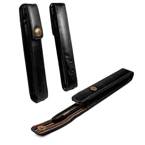 Alston Craig Personalised Vintage Leather Executive Pen Holder case - Black  (Compatible with MontBlanc, Sheaffer, Cross)