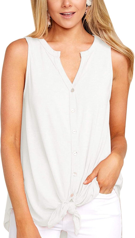 Lana, con Botones Camiseta sin Mangas para Mujer BesserBay