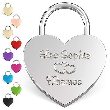 LIEBESSCHLOSS-FACTORY Candado de amor Plateado grabado en forma de corazón. Caja de regalo gratis y mucho mas.Diseña tu castillo ahora grabado!